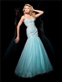 Pretty Mermaid Sweetheart Long Light Blue Tulle Beaded Evening Prom Dress With Crystals