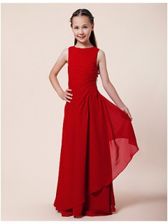 Pretty Sheath Long Red Chiffon Junior Bridesmaid Dress