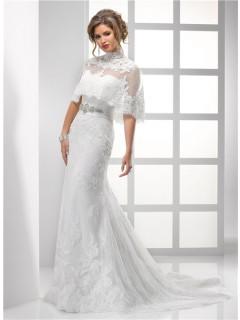 Pretty Sheath Strapless Vintage Lace Wedding Dress With Wrap Crystal Beading Sash