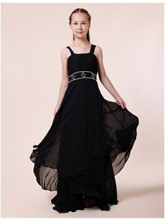Pretty Sheath Straps Long Dark Navy Blue Chiffon Junior Bridesmaid Dress With Beading