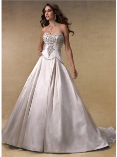 Princess Ball Gown Strapless Scoop Neck Satin Beaded Crystals Wedding Dress