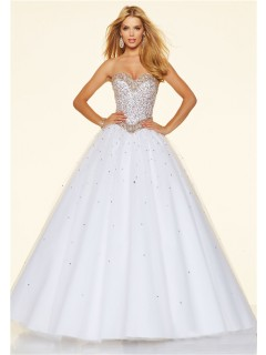Princess Ball Gown Strapless White Tulle Beaded Prom Dress Corset Back