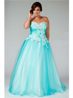 Princess Ball Gown Sweetheart Long Aqua Blue Tulle Lace Plus Size Prom Dress