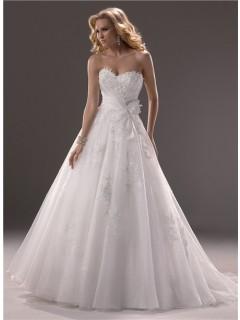 Princess Ball Gown Sweetheart Organza Lace Wedding Dress Corset Back