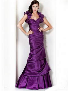 Princess Mermaid Sweetheart Long Purple Silk Evening Dress With Flowers Bolero Jacket