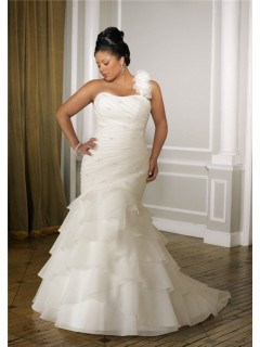 Romantic Mermaid Strapless Organza Ruffle Plus Size Wedding Dress With Detachable Strap