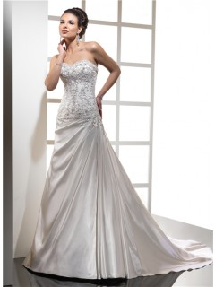 Royal A Line Sweetheart Satin Wedding Dress With Beading Crystals Court Train
