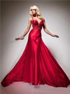 Royal Queen Straps Sweetheart Backless Long Red Silk Beading Prom Dress With Train