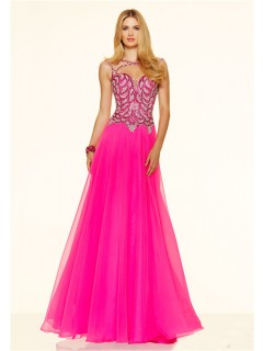 Sexy A Line Cut Out Backless Long Hot Pink Chiffon Beaded Prom Dress