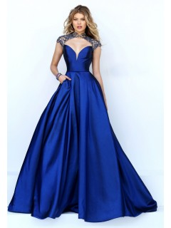 Sexy Cut Out Open Back Royal Blue Satin Beaded Prom Dress With Collar