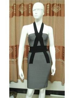 Sexy Halter Open Back Short Mini Black Grey Bodycon Bandage Party Dress