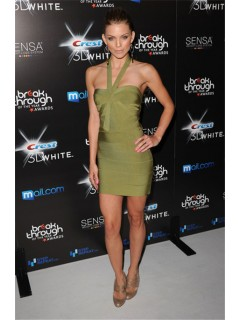 Sexy Halter Open Back Short Mini Green Bodycon Bandage Party Dress