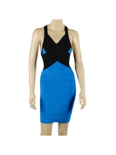 Sexy Halter V Neck Backless Short Mini Royal Blue Black Bandage Bodycon Party Dress
