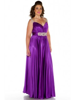 Sexy Long Purple Glitter Silk Plus Size Evening Prom Dress With Beaded Straps