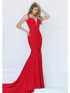 Sexy Mermaid Deep V Neck Backless High Slit Red Satin Prom Dress With Straps