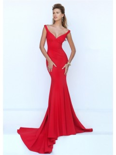 Sexy Mermaid Deep V Neck Red Jersey Evening Prom Dress