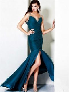 Sexy Mermaid Drop Waist Split Long Teal Evening Dress With Straps