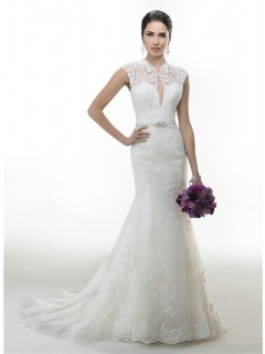 Sexy Mermaid Front Keyhole Open Back Lace Wedding Dress With Crystals Belt