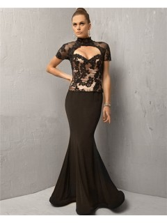 Sexy Mermaid Long Black Chiffon Lace Cut Out Evening Dress With Sleeve