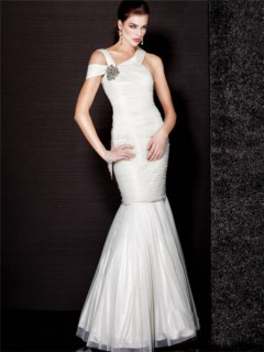 Sexy Mermaid Off Shoulder Long White Tulle Evening Prom Dress With Beading
