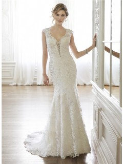 Sexy Mermaid Queen Anne Neckline Cap Sleeve Backless Lace Wedding Dress