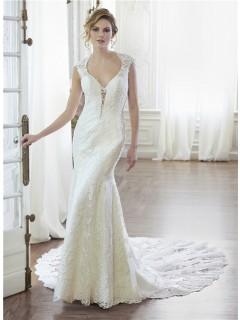 Sexy Mermaid Queen Anne Neckline Illusion Back Lace Wedding Dress Chapel Train