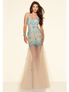 Sexy Mermaid Strapless Champagne Tulle Blue Sparkle Beaded Prom Dress