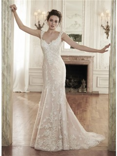 Sexy Mermaid Sweetheart Backless Champagne Lace Wedding Dress With Straps