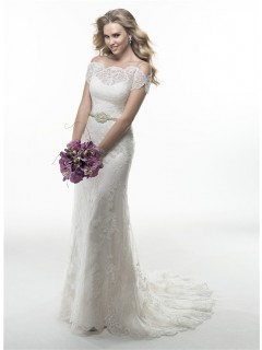 Sexy Off The Shoulder Backless Lace Wedding Dress With Spaghetti Straps