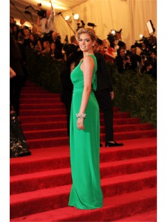 Sexy Scoop With Slit Long Green Silk Kate Upton Red Carpet Celebrity Dress