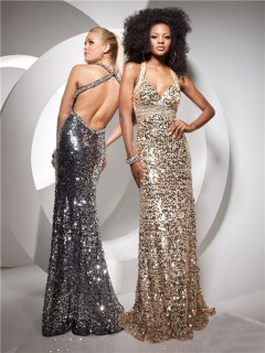 Sexy Sheath Backless Long Champagne Silver Sequined Prom Dress With Straps Beading