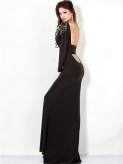 Sexy Sheath Slim Backless Long Black Chiffon Evening Prom Dress With Long Sleeve
