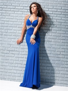Sexy Sheath Straps Backless Long Royal Blue Chiffon Prom Dress Cut Outs