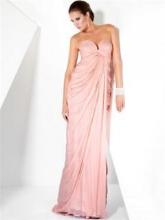 Sexy Sheath Sweetheart Long Pink Chiffon Couture Evening Dress