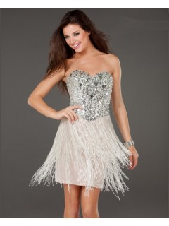 Sexy Sheath Sweetheart Short/Mini Silver Sequins Fringe Cocktail Dress