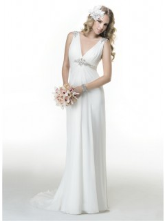 Sexy Sheath V Neck Backless Draped Chiffon Summer Beach Wedding Dress