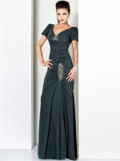 Sexy Sheath V Neck Long Dark Green Ruched Jersey Evening Wear Dress With Sleeve