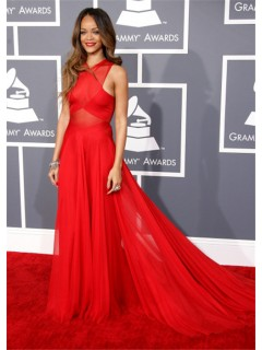 Sexy Sheer Red Chiffon Rihanna Grammys 2013 Red Carpet Celebrity Dress