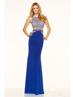 Sexy Side Cut Out Open Back Long Royal Blue Beaded Prom Dress