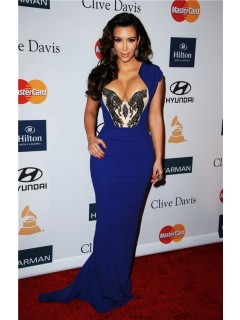 Sexy Tight Long Royal Blue Beaded Stretch Jersey Kim Kardashian Celebrity Dress