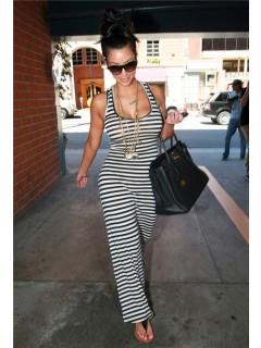 Sexy Tight Long White Black Striped Kim Kardashian Maxi Dress