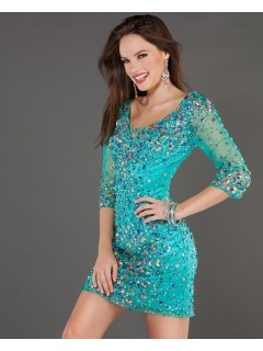 Sexy Tight Short/Mini Turquoise Beaded Tulle Party Cocktail Dress With Sleeve