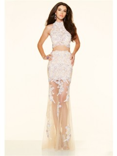Sexy Two Piece High Neck Champagne Tulle Lace Lilac Beaded Prom Dress