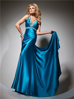 Sexy V Neck Backless Long Blue Silk Beading Glitter Prom Dress With Train