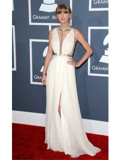Sexy V Neck Long Silver Sequins White Chiffon Taylor Swift Red Carpet Celebrity Dress