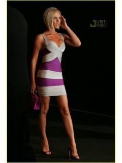 Sexy V Neck Short Mini Purple Silver Striped Bandage Bodycon Evening Dress With Straps