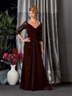 Sexy V neck long brown chiffon vintage mother of the bride dress with sleeves