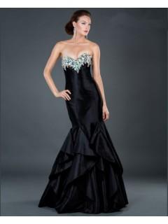 Sexy mermaid sweetheart long black beading taffeta evening dress with ruffles