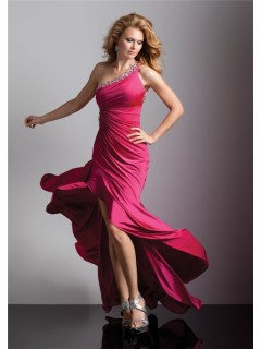 Sexy one shoulder red silk high low prom dress with beading