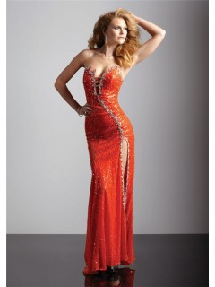 Sexy sheath asymmetric long orange sequined prom dress with beading and slit